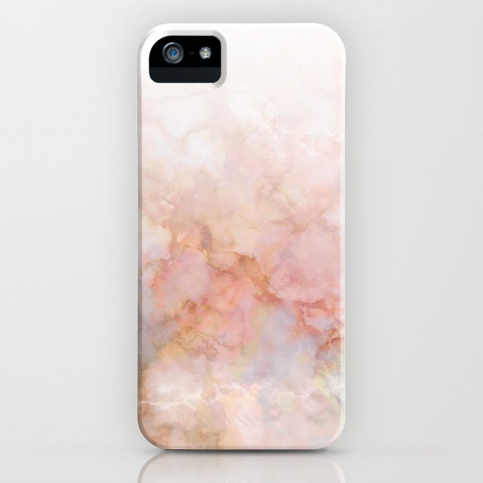 Beautiful Pink and Gold Ombre marble under snow iPhone Case