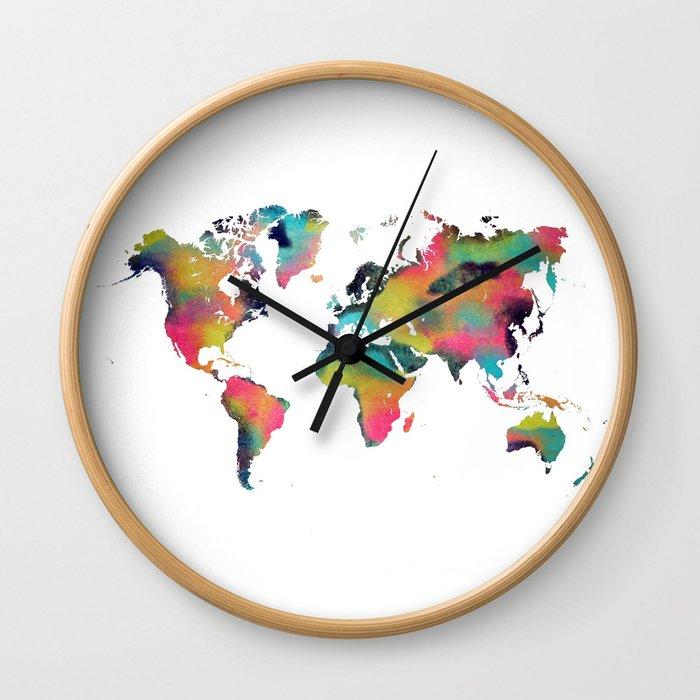 world map 3 Wall Clock