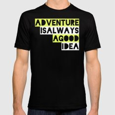 Adventure Black LARGE Mens Fitted Tee