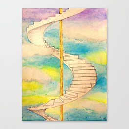 Fantasy Stairs Watercolor Canvas Print