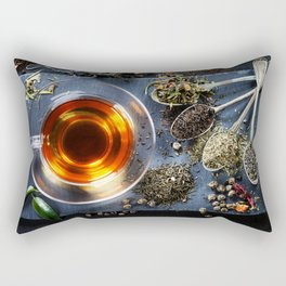 Tea composition with old spoon on dark background Rectangular Pillow