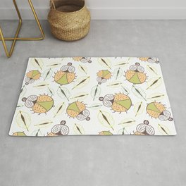 Little funny tick bug and leafs seamless pattern - light Rug