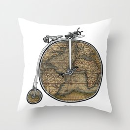 Penny Farthing Map Throw Pillow