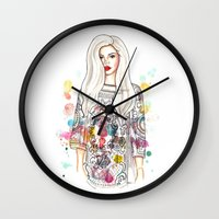 selena Wall Clocks featuring selena illustration by sparklysky
