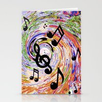 music notes Stationery Cards featuring Music Notes by gretzky
