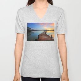 Pier on the Water at Sunset  Unisex V-Neck