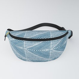 Teal Blue Diagonal Lines Fanny Pack