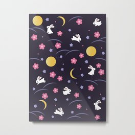 Moon Rabbits V2 Metal Print