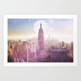 I LOVE PINK NEW YORK CITY SKYLINE - Full Moon Universe Art Print