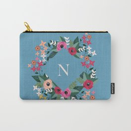 Floral Cyan Monogram N Carry-All Pouch