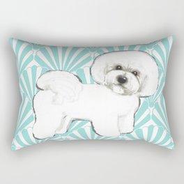 Bichon Frise at the beach / seashell blue Rectangular Pillow