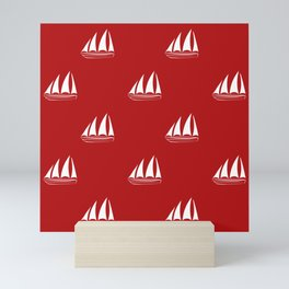 White Sailboat Pattern on red background Mini Art Print