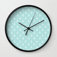 anchors Wall Clocks featuring Anchors by Nic ter Horst