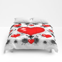 Red  Heart & Black Art  Pattern Comforters