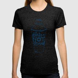 shaken in navy T-shirt