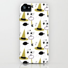 Happy haloween hats, keys, spiders and stars iPhone Case