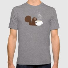 Squirrel Coffee Lover Tri-Grey Mens Fitted Tee MEDIUM