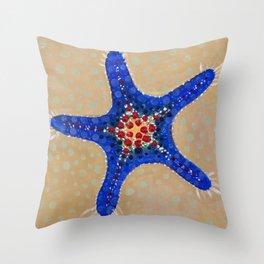 Sea Star Blue Throw Pillow