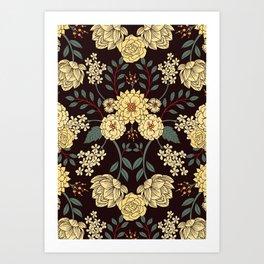 Teal, Cream, Red, Orange & Brown Flowers - Pretty Floral Pattern Art Print