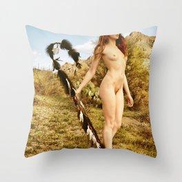 2840 Statuesque Desert Terrain Nude ~ SurXposed ~ Painteresque Girl in a Rocky Desert Landscape. Throw Pillow