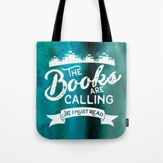 The Books Are Calling And I Must Read + White on Green Tote Bag