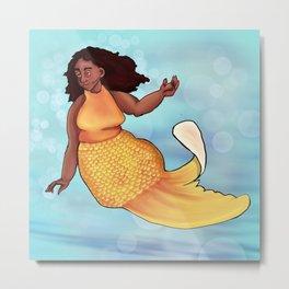 Gold fish mermaid Metal Print