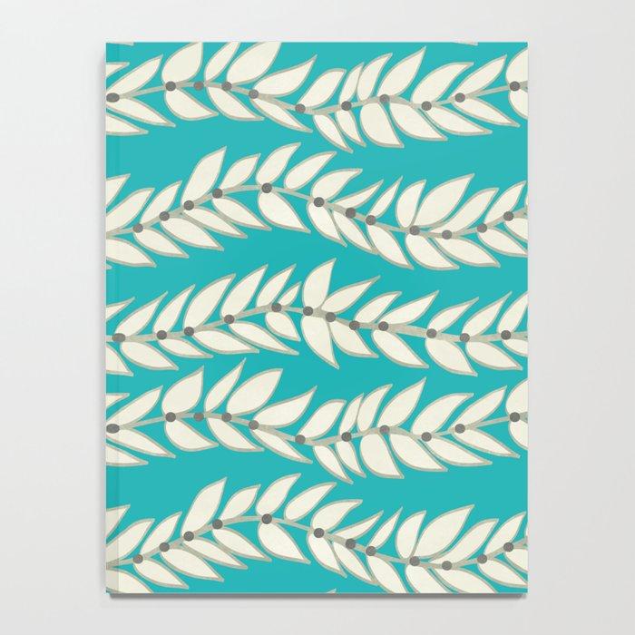 Leaf Dot Stripe Teal Notebook