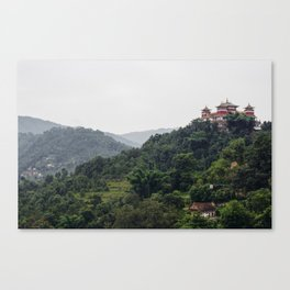 Buddhist Temple in Subtle Rolling Hills (...of tranquility) Canvas Print