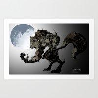 werewolf Art Prints featuring Werewolf by Michelena