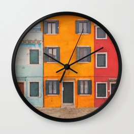 colorful painted houses in Burano Wall Clock