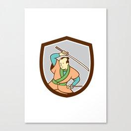 Samurai Warrior Katana Sword Shield Cartoon Canvas Print