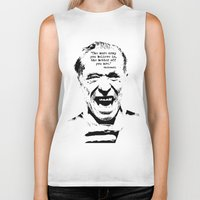 bukowski Biker Tanks featuring Charles Bukowski Quote Crap by Fligo
