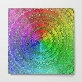 Rainbow Flower Mandala Metal Print