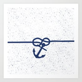 Nautical navy blue white anchor watercolor splatters Art Print