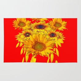 Decorative Red Sunflowers Art Abstract Rug