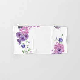 Butterfly And Flowers Violet Circle Hand & Bath Towel