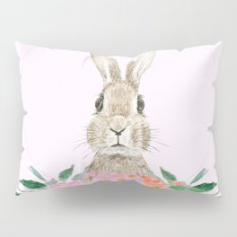 rabbit and pink camellia flower Pillow Sham