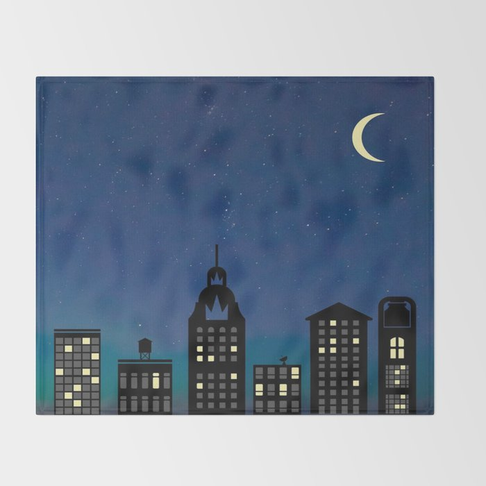 Night Life- The City Throw Blanket