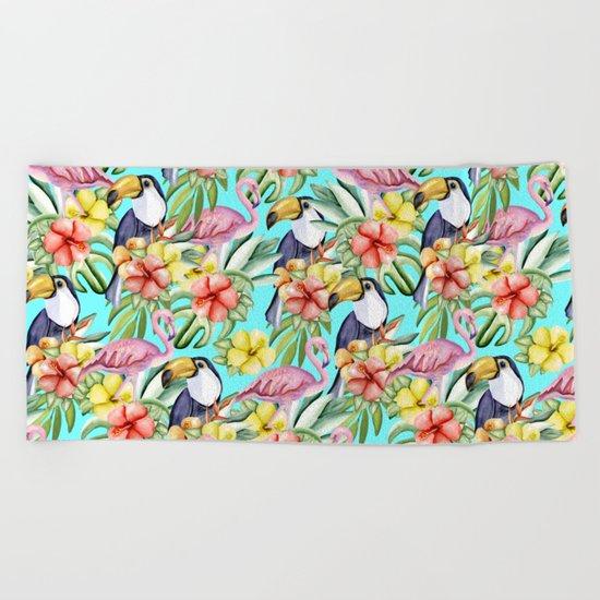 Tropical birds and flowers Beach Towel