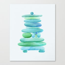 Sea Glass Cairn Watercolor Canvas Print