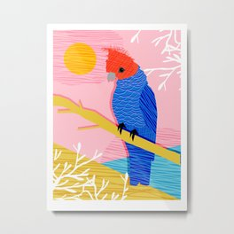 Blazin - memphis throwback tropical bird art parrot cockatoo nature neon 1980s 80s style retro cool Metal Print