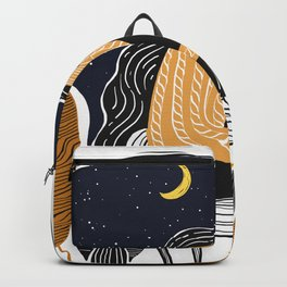 A PEACEFUL NIGHT, A Beautiful Girl With Long Hair Sleeping At Home Backpack