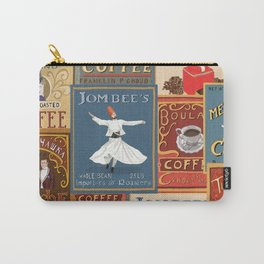 Vintage Inspired Colorful Coffee Labels Collage 3 Carry-All Pouch