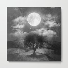 Black and white - Once upon a time... The lone tree. Metal Print
