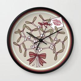 Kiss me under a mistletoe Wall Clock