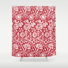 """William Morris Floral Pattern   """"Pink and Rose"""" in Red and White Shower Curtain"""