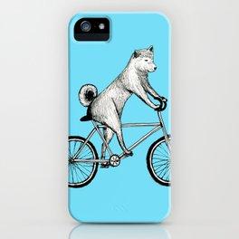 Shiba Inu Riding a Bicycle iPhone Case