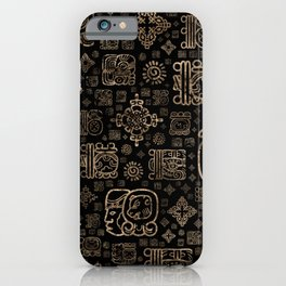 Mayan glyphs and ornaments pattern -gold on black iPhone Case