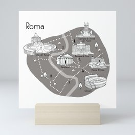 Mapping Roma - Grey Mini Art Print
