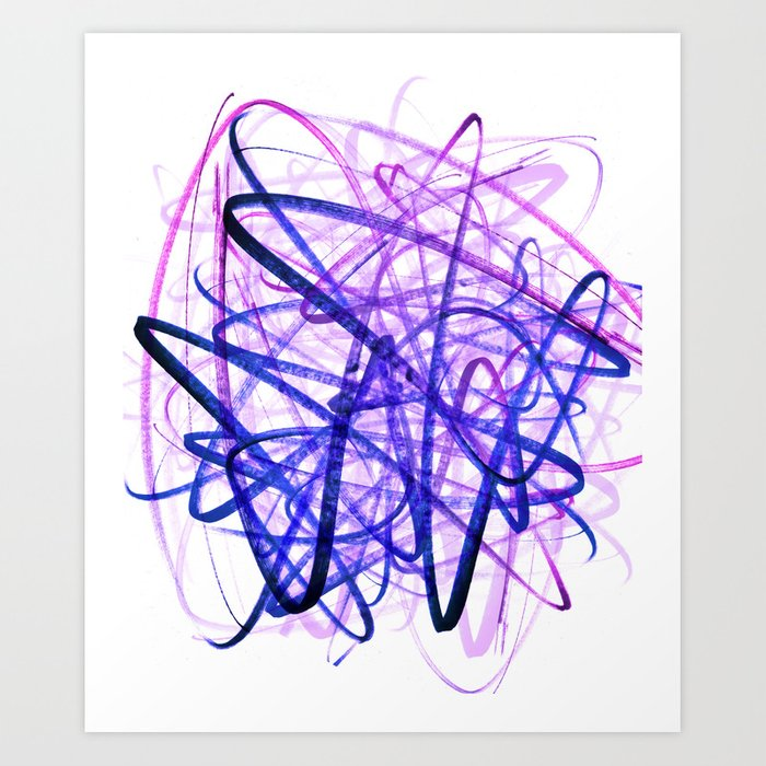 Violet Chaos Expressive Lines Abstract Art Print